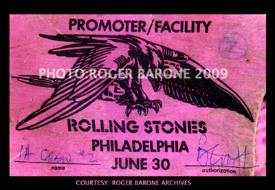 rolling stones backstage pass philly 1975