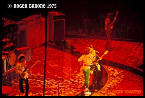 "rolling stones performing ""Honky Tonk Woman"" in Philadelphia Spectrum Arena, June 30, 1975. photo by roger barone"