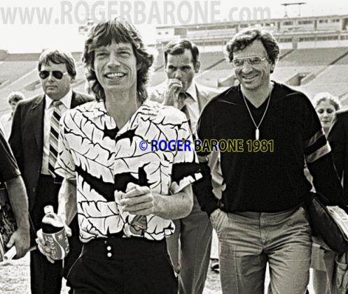 Mick Jagger & Bill Graham Stones press conference JKK stadium philadelphia. © roger barone 1981