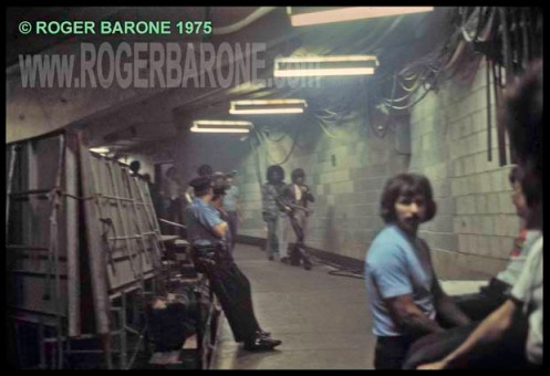 Keith Richards & Billy Preston walking the back hallways of the Spectrum Arena headed to the stage. © roger barone 1975