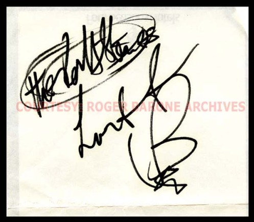 rolling stones drummer, charlie watts, signature on stationery from Four Season's Hotel in Philadelphia. courtesy roger barone archives. august 27, 1989