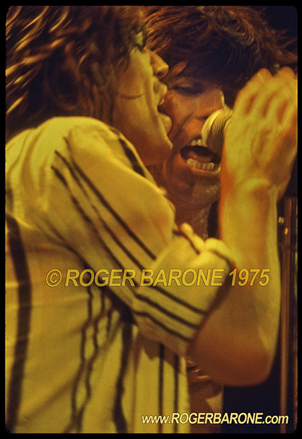 "Mick Jagger & Keith Richards singing ""Happy"" at the Spectrum, Philadelphia © roger barone"