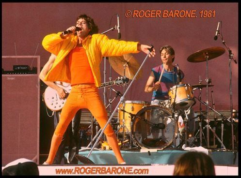 Mick Jagger and Rolling Stones concert photo from JFK Stadium © roger barone 1981