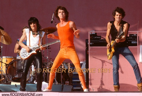 ronnie wood, mick jagger & keith richards rolling stones concert photo from philly © roger barone 1981
