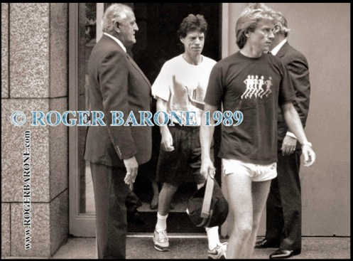 Mick Jagger leaving Four Seasons Hotel to jog rolling stones photos from philly by roger barone 1989