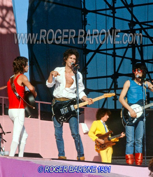 mick jagger, keith richards & ronnie wood, JFK Stadium concert photo by roger barone 9/27/81
