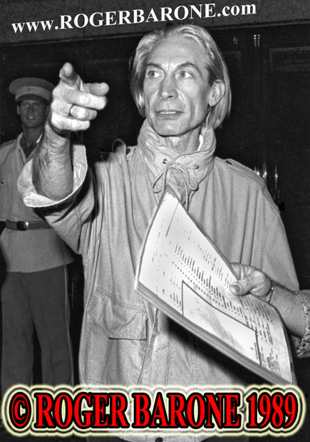 Rolling Stones drummer Charlie Watts exiting Four Seasons Hotel Philadelphia, Photo by roger barone 1989