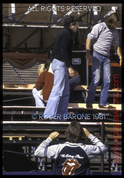 Legendary promoter Bill Graham setting up Rolling Stones stage Philly 9/81 photo: roger barone