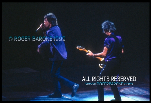 "Mick Jagger and Keith Richards ""No Security"" Tour performance. First Union Center Philly 1999 Photo:© roger barone"