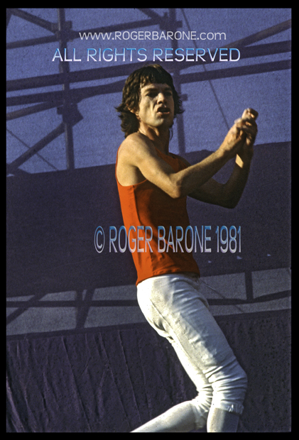 Mick Jagger on stage at JFK Stadium Rolling Stones concert, photo: © roger barone 1981