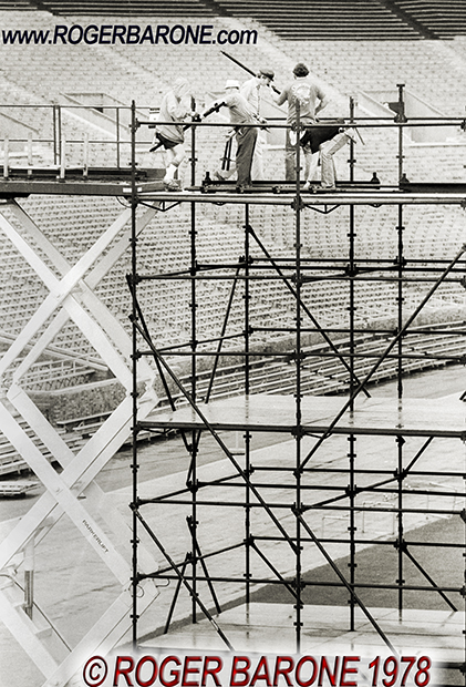 Local IATSE stagehands setting up Rolling Stones stage in JFK Stadium Philly (6/12/78) © roger barone