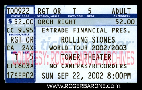 rolling stones rare ticket stub Towe Theater Upper Darby (9/22/02) photo by roger barone
