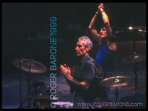 Rolling Stones, Charlie Watts & Ronnie Wood performing First Union Center 1999 photo: roger barone