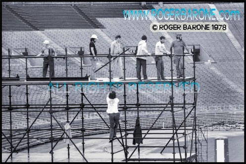 Philadelphia stagehands and roadies from the Rolling Stones' crew assemble sound towers at JFK Stadium (6/12/78) © roger barone