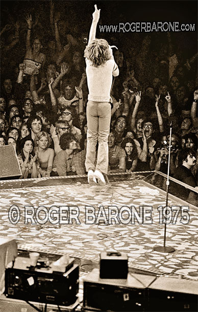 Mick Jagger's vertical leap keeps wide-eyed Philly fans focused on the Rolling Stones music at the Spectrum © ROGER BARONE 1975