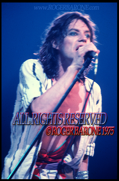 Mick Jagger singing with the Rolling Stones at the Spectrrum Arena in Philadelphia. June 29, 1975. © roger barone 1975