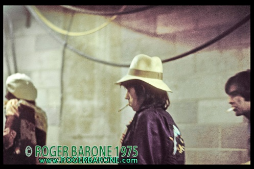 Keith Richards and Rolling Stones walking to dressing rooms backstage at Spectrum Arena, June 29, 1975, photo © roger barone 1975