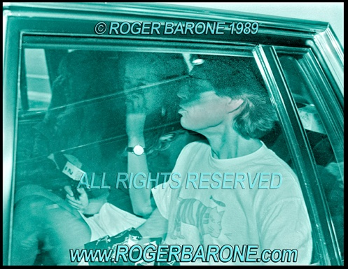 Rolling Stones Mick Jagger and daughter Jade leaving Philly hotel. © roger barone 1989