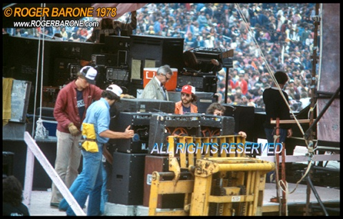 Rolling Stones equipment set up JFK Stadium June 1978 photo by roger barone