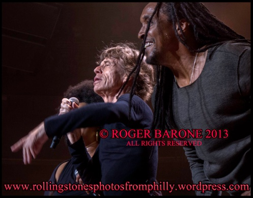 Mick Jagger & Bernard Fowler singing Rolling Stones Wells Fargo Center, philly, © roger barone 2013