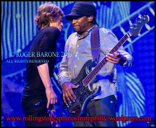 Mick Jagger/ Darrly Jones rolling stones wells fargo center, june 21, 2013. © roger barone 2013