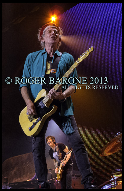 "Keith RIchards plays fender telecaster during Rolling Stones Philly ""50 and Counting"" Tour. June 15, 2013. © roger barone"