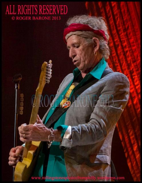 Keith Richards telecaster headband jacket philly june 21, 2013. © roger barone