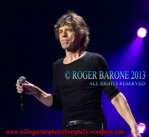 Mick Jagger and Rolling Stones blue lights Wells Fargo Center. June 21, 2013, © roger barone
