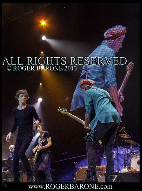 Keith Richards and Mick Jagger Rolling Stones 50 and Counting Tour, Wells Fargo Center, June 21, 2013, © Roger Barone