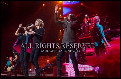 rolling stones singing Satisfaction at Wells Fargo Center. photo: © roger barone 2013