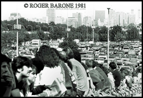 ROLLING STONES FANS ARRIVING AT JFK STADIUM, (9/25/81) © ROGER BARONE 1981
