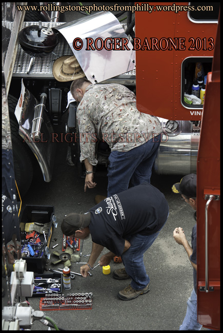 rolling stones' truck repair well fargo center lot, June 18, 2013, photo by roger barone ©