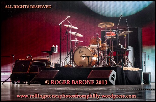 Charlie Watts drum set Wells Fargo Center,  June 21, 2013 © roger barone