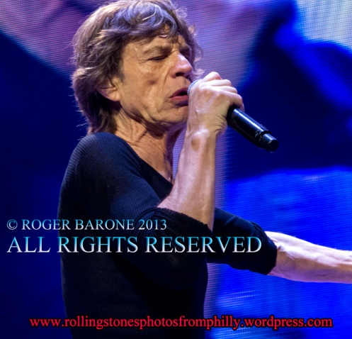 Mick Jagger blue lights profile, Wells Fargo Center, © roger brone 2013