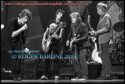 Mick Jagger, Ronnie Wood, Mick Taylor and Keith Richards, Wells Fargo Center Philly photo: roger barone