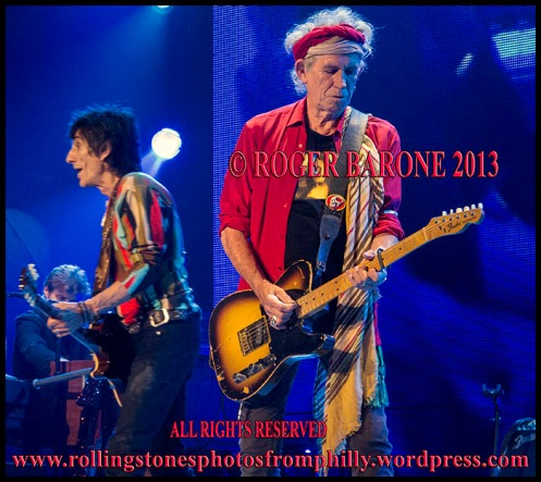 "Keith Richards and Ronnie Wood ""You can't always get what you want"" wells fargo center, june 21, 2013 photo by roger barone"