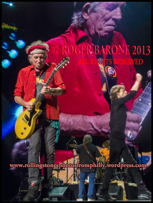Keith Richards and Mick Jagger encore Satisfact, Wells Fargo Center, june 21, 2013 roger barone photo