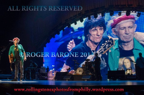 "Keith Richards, left, and Ronnie Wood sing ""You Got The Silver"" Philly photo by roger barone"