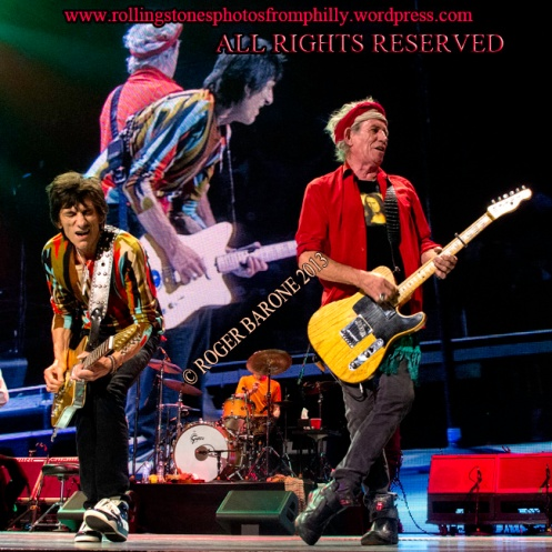 """Keith Richards and Ronnie Wood """"50 And Counting"""" in Philly. June 21, 2013, © roger barone"""