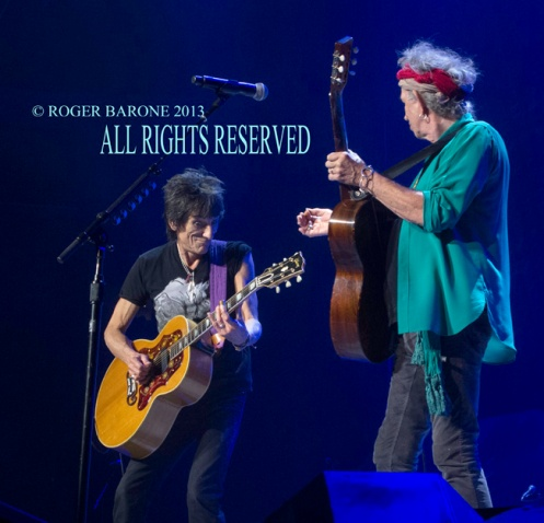 Keith Richards and Ronnie Wood Wells Fargo Center, june 21, 013 photo roger barone