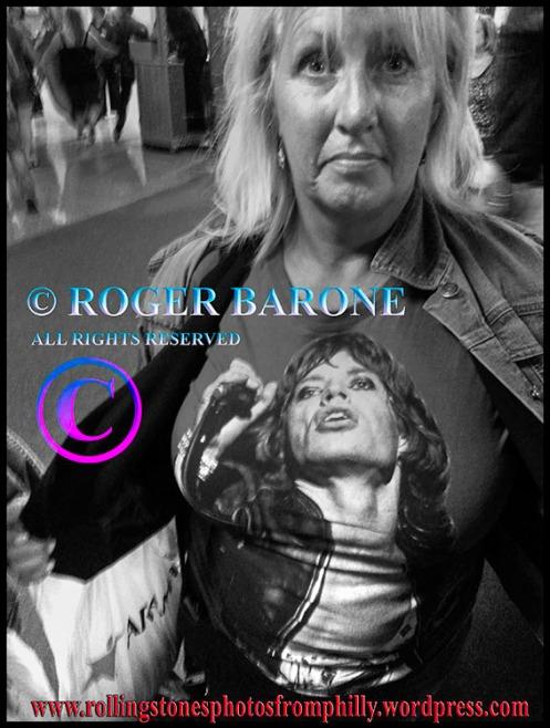 Fan displays her Mick Jagger T-shirt at Wells Fargo Center, June 21, '2013, © roger barone