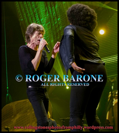 Mick Jagger & Lisa Fischer performing at Wells Fargo Center in Philadelphia. photo by roger barone 2013