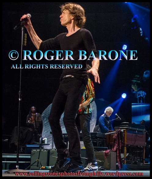Mick Jagger full body photo profile Wells Fargo Center, June 21, 2013 photo by roger barone