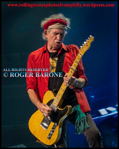 Keith Richards red shirt, red headband philly, june 21, 2013. photo by roger barone