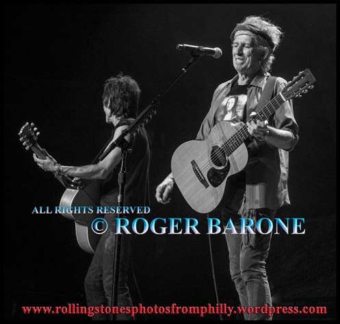 "Keith Richards & Ronnie Wood ""You Got The Silver"" Wells Fargo Center June 21, 2013. photo by roger barone"