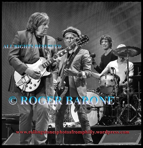 Mick Taylor, Keith Richards and Mick Jagger performing at Wells Fargo Center in Philly, June 21, 2013, photo by roger barone