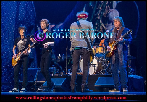 "Rolling Stones playing ""Can't You Hear Me Knocking"" at the Wells Fargo Center, June 21, 2013. © roger barone"