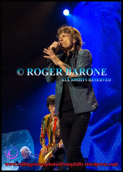 """Rolling Stones Mick Jagger singing """"You Can't Always Get What You Want"""" in Philadelphia, june 21, 2013, photo by roger barone"""