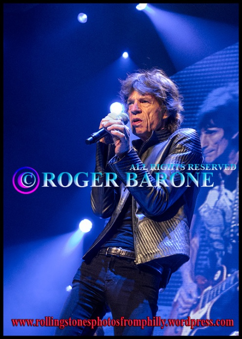 "Mick Jagger blue lights ""Midnight Rambler"" philly, june 21, 2013. photo by roger barone"