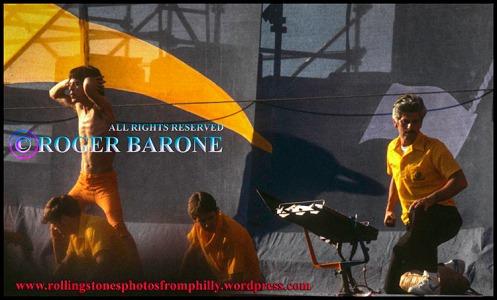 Mick Jagger of the Rolling Stones dances across JFK Stadium stage, September 26, 1981, photo© roger barone